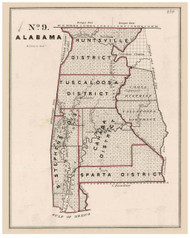 Alabama - Land Office Map, 1843 - Old Map Reprint - 1843 Regional Section 7