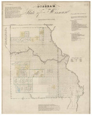 Diagram of the State of Missouri, 1837 - Old Map Reprint - 1843 Regional Section 9