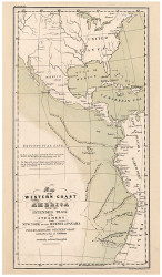 Steamer Routes along West Coast of Americas - Panama Canal, 1843 - Old Map Reprint - 1843 Regional Section 10