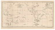 Pacific Shipping Routes to Panama, 1843 - Old Map Reprint - 1843 Regional Section 10