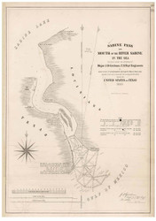 Sabine Pass - Sabine Lake to Gulf of Mexico, Texas-Lousiana, 1840 - Old Map Reprint - 1843 Regional Section 11