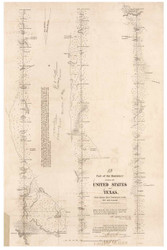 Texas Boundary - Sabine River to 36 miles North, 1843 - Old Map Reprint - 1843 Regional Section 11