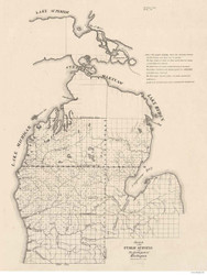 Michigan - North Part (upper peninsula empty), 1839 - Old Map Reprint - 1843 Regional Section 12