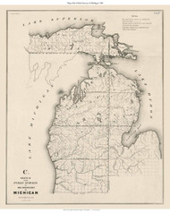 Michigan - North Part with Upper Peninsula, 1841 - Old Map Reprint - 1843 Regional Section 12