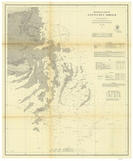 Nantucket Shoals 1863 Nautical Map 1:200,000 sc Reprint BA 6