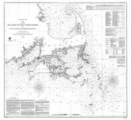 Cape Cod to Saughkonnet Point 1857 Nautical Map 1:200,000 sc Reprint BA 23