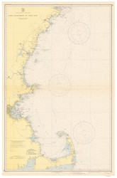 Cape Elizabeth to Cape Cod 1943 Nautical Map 1:210,100 sc Reprint BA 50