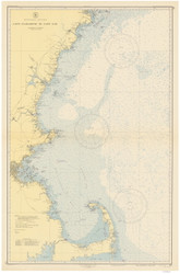 Cape Elizabeth to Cape Cod 1945 Nautical Map 1:210,100 sc Reprint BA 50