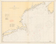 West Quoddy Head to New York 1935 Nautical Map 1:675,000 sc Reprint BA 70