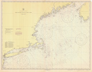 West Quoddy Head to New York 1945 Nautical Map 1:675,000 sc Reprint BA 70