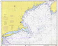 West Quoddy Head to New York 1974 Nautical Map 1:675,000 sc Reprint BA 70 (13006)