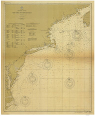 Cape Sable to Cape Hatteras 1900 Old Map Nautical Chart 1:1,200,000 sc Reprint 1000
