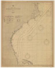 Chesapeake Bay to Straits of Florida 1904 Old Map Nautical Chart 1:1,207,256 sc Reprint 1001