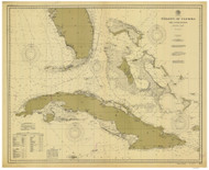 Straits of Florida and Approaches 1900 Old Map Nautical Chart 1:1,210,765 sc Reprint 1002