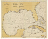 Gulf of Mexico 1931 Old Map Nautical Chart 1:2,160,000 sc Reprint 1007