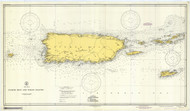 Puerto Rico and Virgin Islands 1942 Old Map Nautical Chart 1:325,000 sc Reprint 920