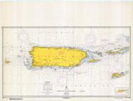 Puerto Rico and Virgin Islands 1969 Old Map Nautical Chart 1:325,000 sc Reprint 920