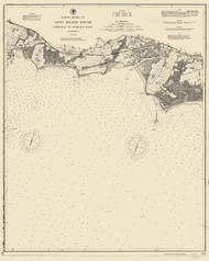 Fairfield to George's Rock 1895 - Old Map Nautical Chart AC Harbors 266 - Connecticut