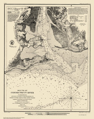 Mouth of Connecticut River 1853 Color Added - Old Map Nautical Chart AC Harbors 360 - Connecticut