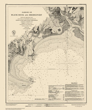 Harbors of Black Rock and Bridgeport 1848 Color Added - Old Map Nautical Chart AC Harbors 363 - Connecticut
