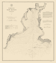 New Haven Harbor 1875 - Old Map Nautical Chart AC Harbors 218 - Connecticut