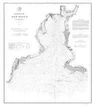 New Haven Harbor 1875 BW - Old Map Nautical Chart AC Harbors 218 - Connecticut