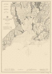 New Haven Harbor 1897 - Old Map Nautical Chart AC Harbors 218 - Connecticut