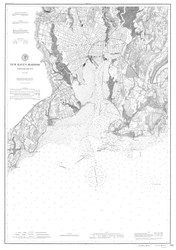 New Haven Harbor 1897 BW - Old Map Nautical Chart AC Harbors 218 - Connecticut