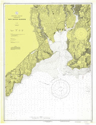 New Haven Harbor 1928 - Old Map Nautical Chart AC Harbors 218 - Connecticut