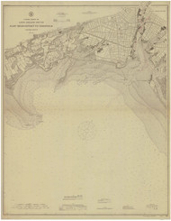 East Bridgeport to Fairfield 1909 - Old Map Nautical Chart AC Harbors 265 - Connecticut