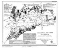 Fishers Island Sound 1847 BW B - Old Map Nautical Chart AC Harbors 358 - Connecticut