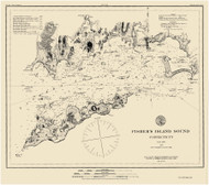 Fishers Island Sound 1885 - Old Map Nautical Chart AC Harbors 358 - Connecticut
