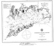 Fishers Island Sound 1885 BW - Old Map Nautical Chart AC Harbors 358 - Connecticut