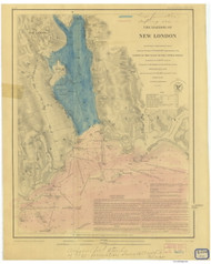 Harbor of New London and Approaches 1848 - Old Map Nautical Chart AC Harbors 359 - Connecticut