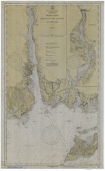 Harbor of New London and Approaches 1929 - Old Map Nautical Chart AC Harbors 359 - Connecticut