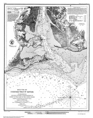 Mouth of Connecticut River 1853 BW - Old Map Nautical Chart AC Harbors 360 - Connecticut