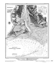 Mouth of Connecticut River 1879 BW - Old Map Nautical Chart AC Harbors 360 - Connecticut