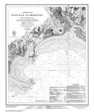 Harbors of Black Rock and Bridgeport 1848 BW - Old Map Nautical Chart AC Harbors 363 - Connecticut