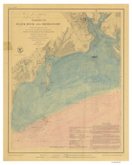 Harbors of Black Rock and Bridgeport 1848 Ice Formations - Old Map Nautical Chart AC Harbors 363 - Connecticut