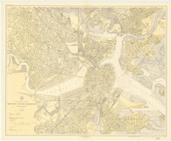 Boston Inner Harbor 1920 - Old Map Nautical Chart AC Harbors 248 - Massachusetts