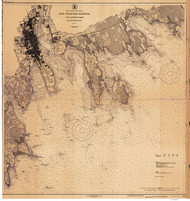 New Bedford Harbor and Approaches 1924 A Old Map Nautical Chart AC Harbors 2 252 - Massachusetts