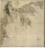 New Bedford Harbor and Approaches 1924 B Old Map Nautical Chart AC Harbors 2 252 - Massachusetts