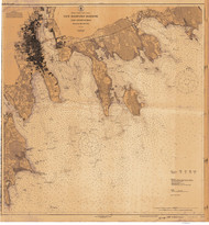 New Bedford Harbor and Approaches 1927 Old Map Nautical Chart AC Harbors 2 252 - Massachusetts