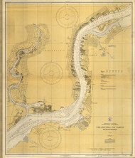 Delaware River Philadelphia and Camden Waterfronts 1828 - Old Map Nautical Chart AC Harbors 280 - New Jersey