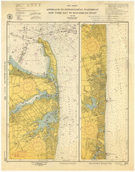 New York Bay to Manasquan Inlet 1953 - Old Map Nautical Chart AC Harbors 824 - New Jersey