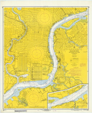 Delaware River Philadelphia and Camden Waterfronts 1967 - Old Map Nautical Chart AC Harbors 280 - New Jersey