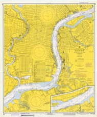 Delaware River Philadelphia and Camden Waterfronts 1973 - Old Map Nautical Chart AC Harbors 280 - New Jersey