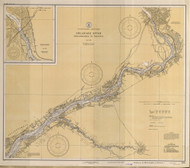 Delaware River Philadelphia to Trenton 1935 - Old Map Nautical Chart AC Harbors 296 - New Jersey