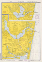 Shark River, Manasquan River, and Bay Head Harbor 1970 - Old Map Nautical Chart AC Harbors 795 - New Jersey