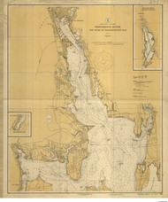 Providence River 1924 - Old Map Nautical Chart AC Harbors 278 - Rhode Island